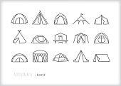 Tent line icon set