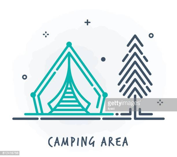 tent line icon - tent stock illustrations, clip art, cartoons, & icons
