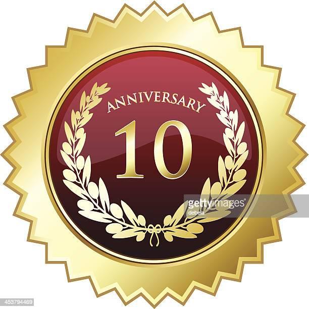 10. jahrestag shield - 10 11 jahre stock-grafiken, -clipart, -cartoons und -symbole