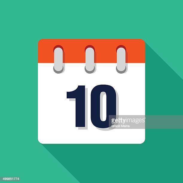 Tenth Flat Design Calendar Icon - VECTOR