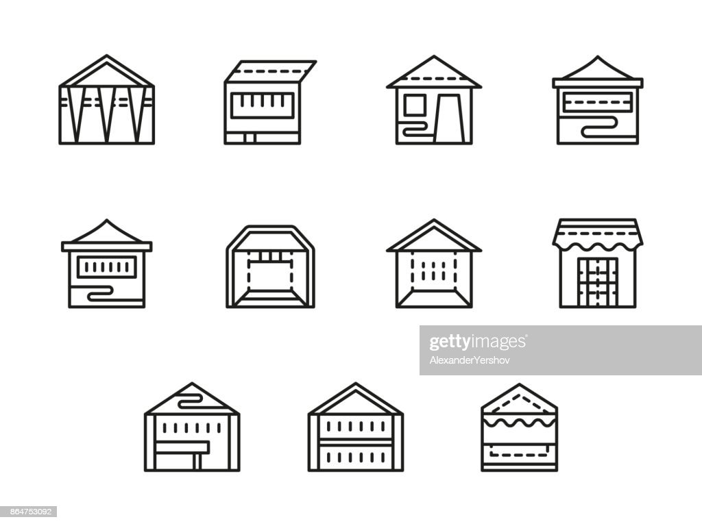 Tents and pavilions black line vector icons set