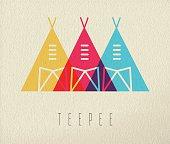 Tepee native american icon concept color design