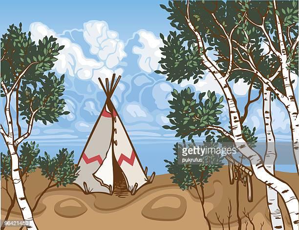 tepee wilderness - aspen tree stock illustrations, clip art, cartoons, & icons