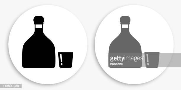 ilustrações, clipart, desenhos animados e ícones de ícone redondo preto e branco do tequila - tequila drink