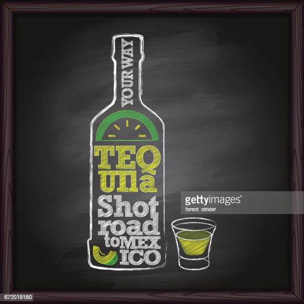 tequila bottle and shot drawing on chalkboard - tequila drink stock illustrations, clip art, cartoons, & icons