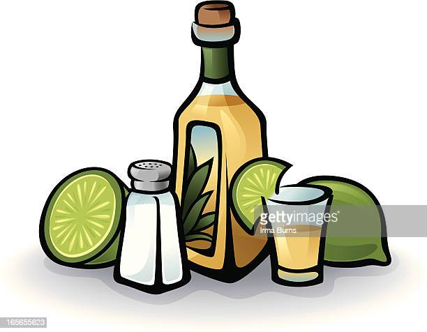 tequila bottle - tequila drink stock illustrations, clip art, cartoons, & icons