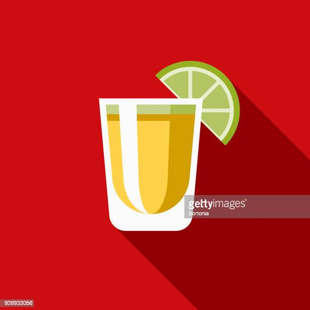 tequila flat design mexico icon with side shadow - tequila drink stock illustrations, clip art, cartoons, & icons