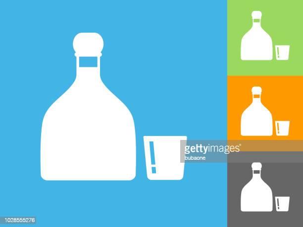 ilustrações, clipart, desenhos animados e ícones de tequilha ícone plana sobre fundo azul - tequila drink