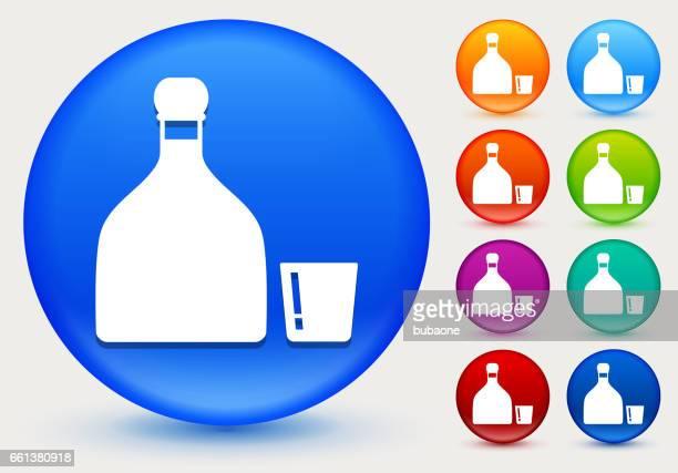 ilustrações, clipart, desenhos animados e ícones de ícone de tequila no círculo de cores brilhantes botões - tequila drink