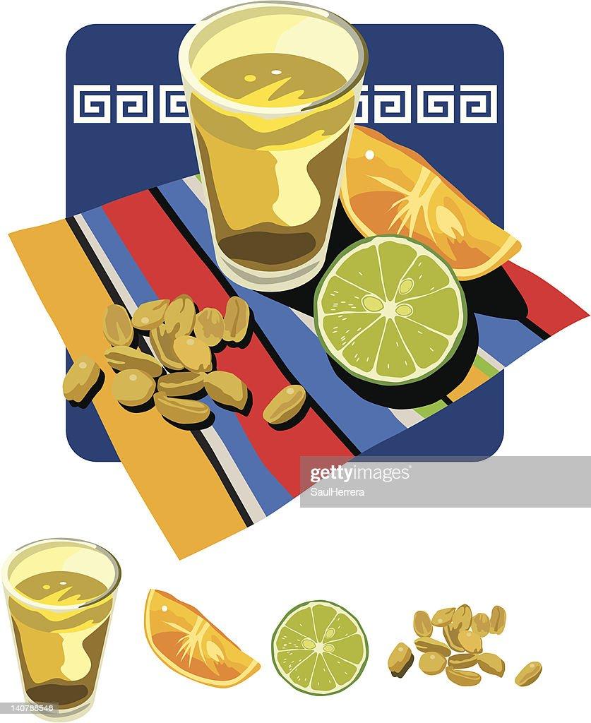tequila lemon orange and peanuts : stock illustration