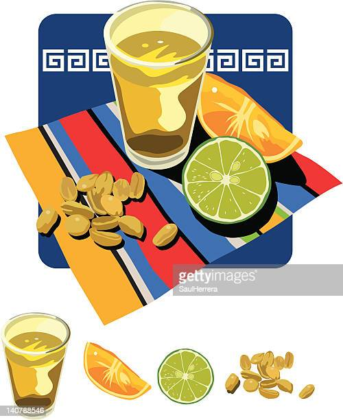 tequila lemon orange and peanuts - shot glass stock illustrations, clip art, cartoons, & icons