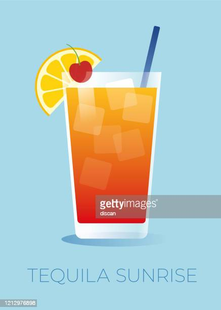ilustrações, clipart, desenhos animados e ícones de tequila sunrise coquetel com uma fatia de laranja e uma cereja. - tequila drink