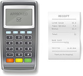 POS terminal and sales printed receipt. realistic illustration