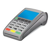 POS terminal on white background
