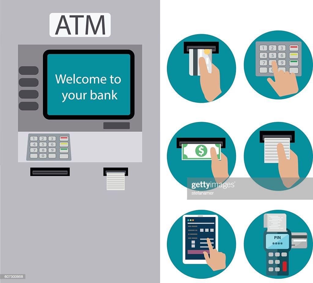 ATM terminal usage. Payment through the terminal.