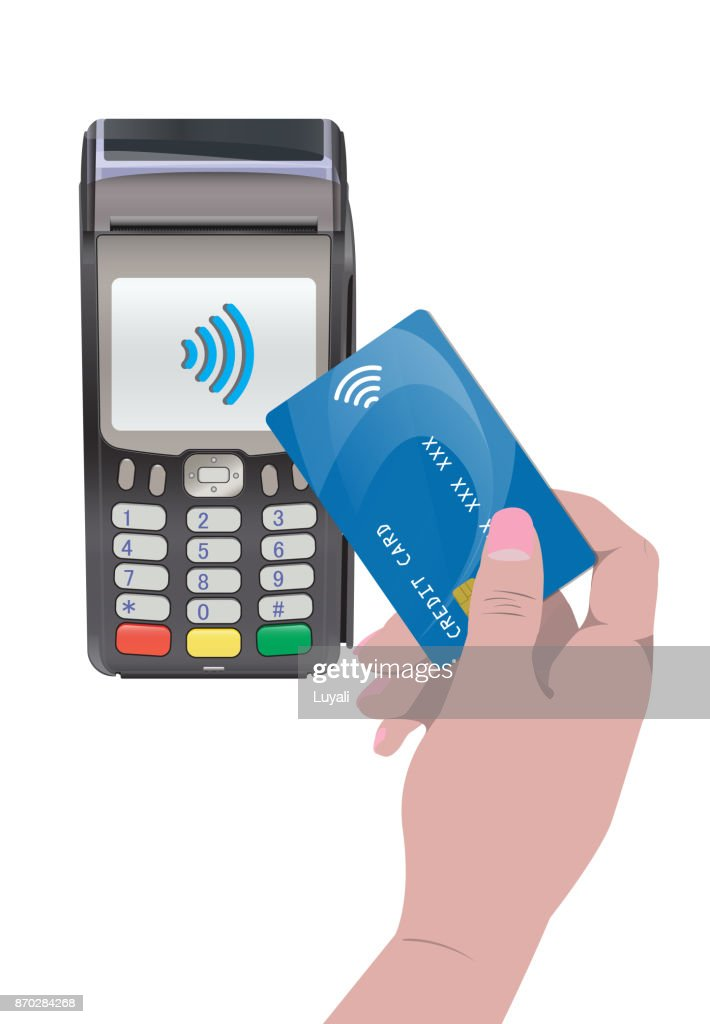 POS Terminal with hand and credit card. Contactless payment