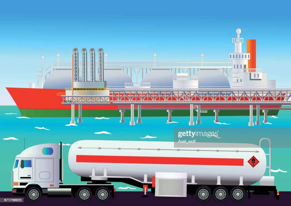 LNG terminal, with tanker and truck. Vector