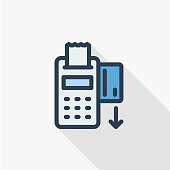 POS terminals with approved, receipts, inserted credit cards. Tick and rejected on displays. Checkout, terminal payment, pay with credit card icon. Flat design. Vector.