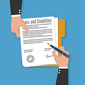 Terms and condition of document signed flat icon