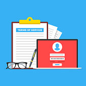 Terms of service. Clipboard with terms of service document, glasses, pen and laptop with registration page. Flat design. Vector illustration