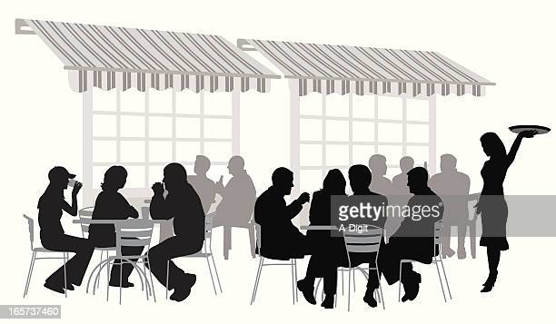 terrace vector silhouette - awning stock illustrations, clip art, cartoons, & icons
