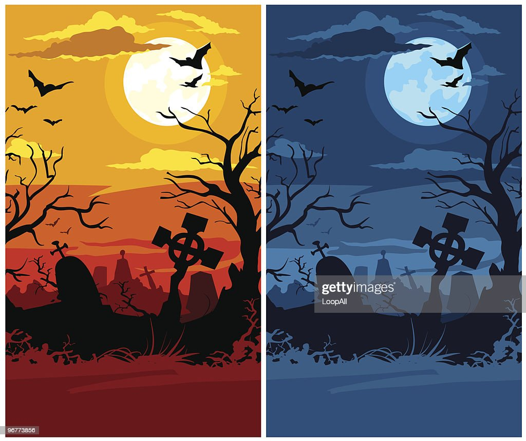 terrible halloween cemetery with moon night and sunset vector art