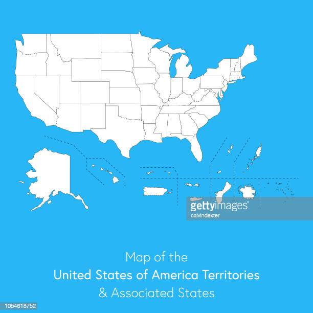 USA territories and associated states map
