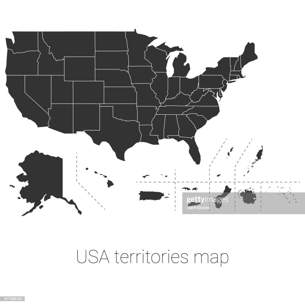 USA territories map : Ilustração de stock