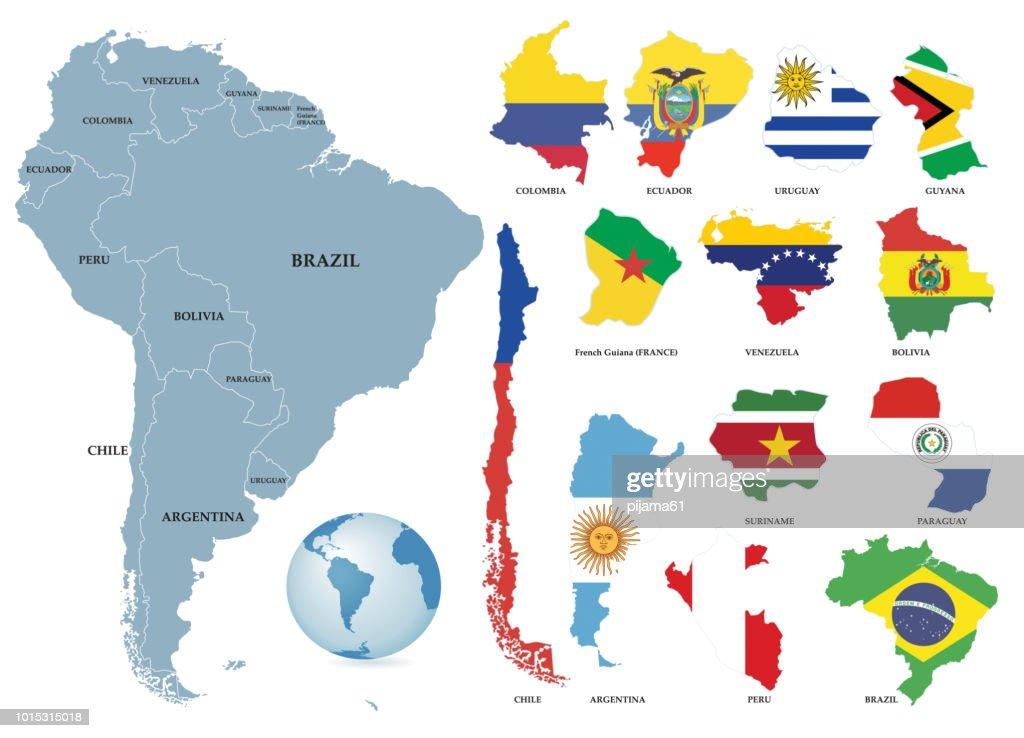 南米大陸の国の領土です。フラグ別の国。 : ストックイラストレーション