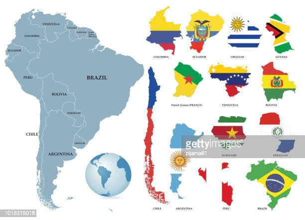 territories of countries on south america continent. separate countries with flags. - french overseas territory stock illustrations