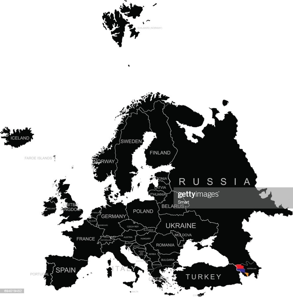 Territory of Armenia on Europe map on a white background