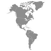 Territory of continents - North America, South America. Vector illustration