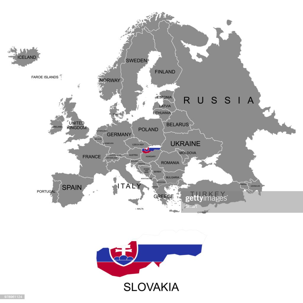 Territory of Europe continent. Slovakia. Separate countries with flags. List of countries in Europe. White background. Vector illustration