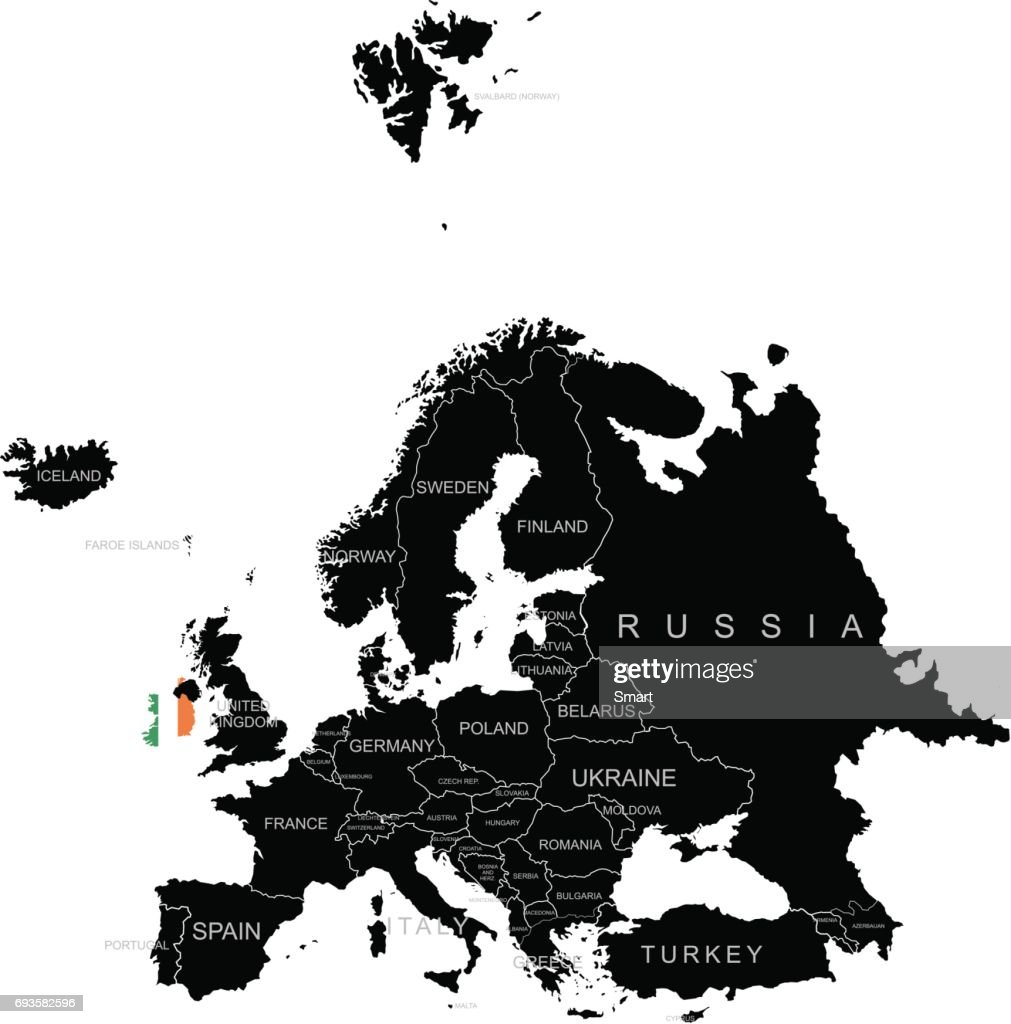 Territory of Ireland on Europe map on a white background