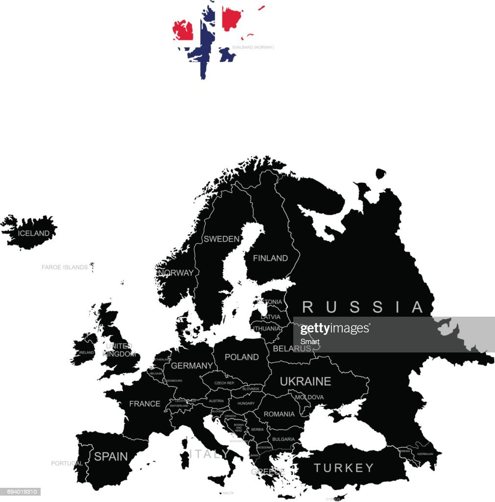 Territory of Svalbard on Europe map on a white background