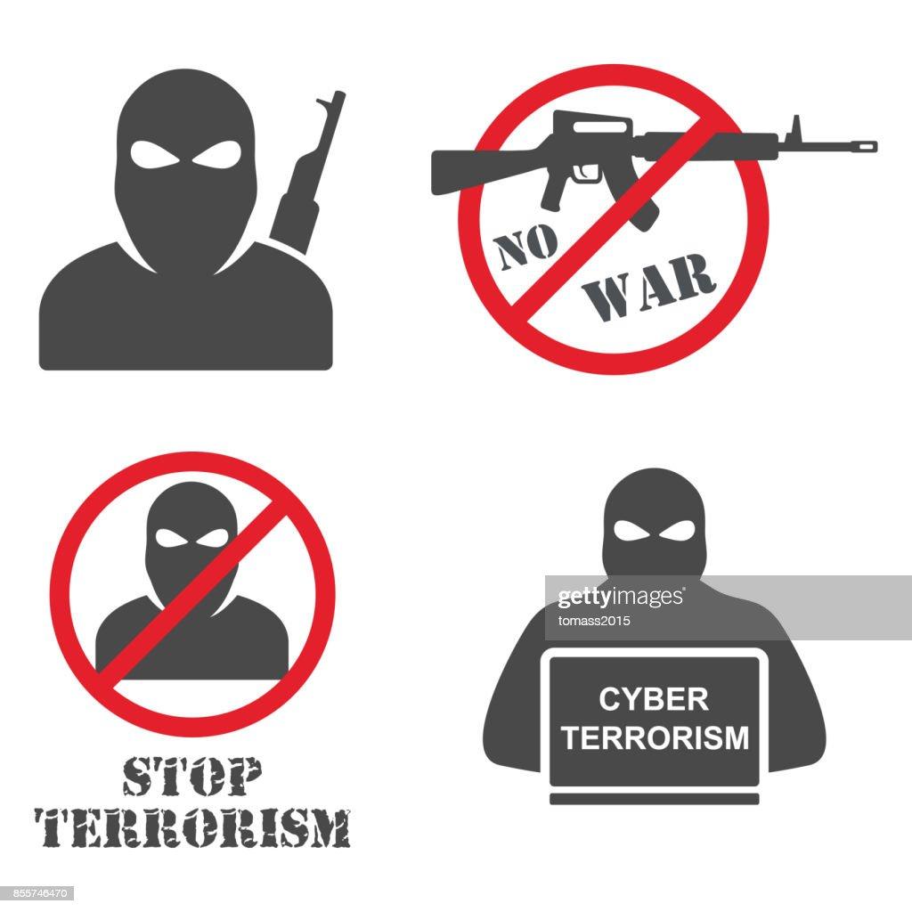 Terrorism Armed Terrorist Black Mask Hold Weapon Machine Gun