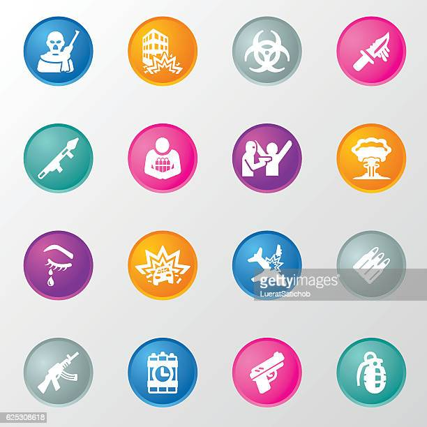Terrorism Circle Color Icons