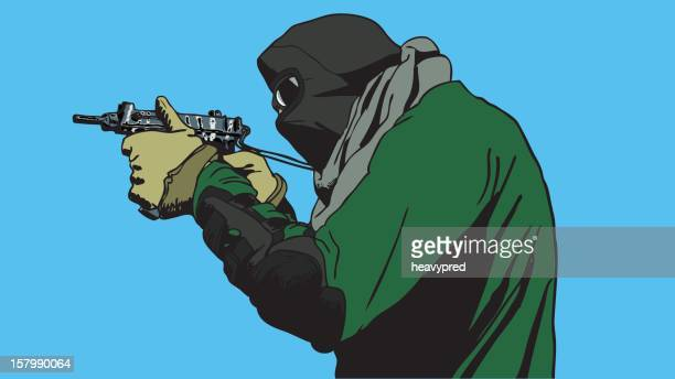 ilustraciones, imágenes clip art, dibujos animados e iconos de stock de terroristas apuntando con smg - submachine gun
