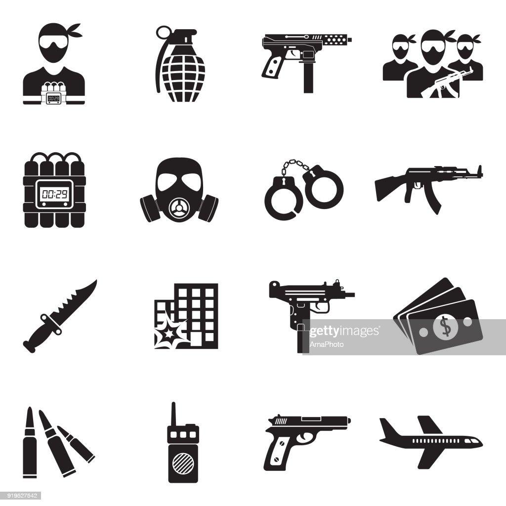 Terrorist Icons. Black Flat Design. Vector Illustration.