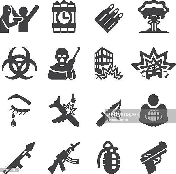 terrorist silhouette icons | eps10 - terrorism stock illustrations