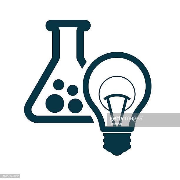 ilustraciones, imágenes clip art, dibujos animados e iconos de stock de tubo de ensayo y el icono de la bombilla - material de vidrio de laboratorio