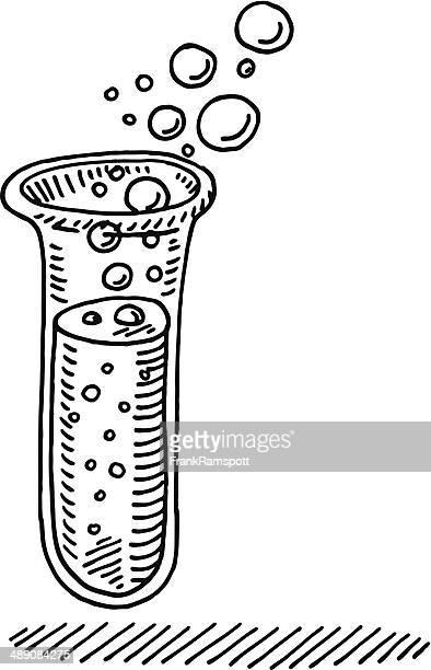 ilustraciones, imágenes clip art, dibujos animados e iconos de stock de prueba química del tubo de extracción - material de vidrio de laboratorio
