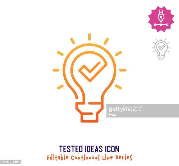illustrazioni stock, clip art, cartoni animati e icone di tendenza di idee testate linea continua linea modificabile linea tratto - continuità