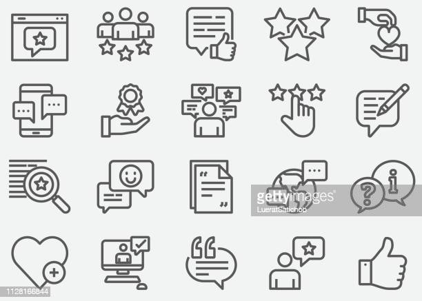 testimonial and support line icons - social media icons stock illustrations