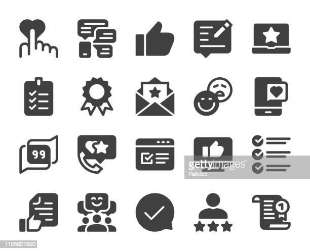 testimonial - icons - customer focused stock illustrations