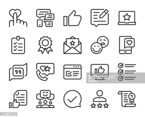 testimonial - line icons - questionnaire stock illustrations