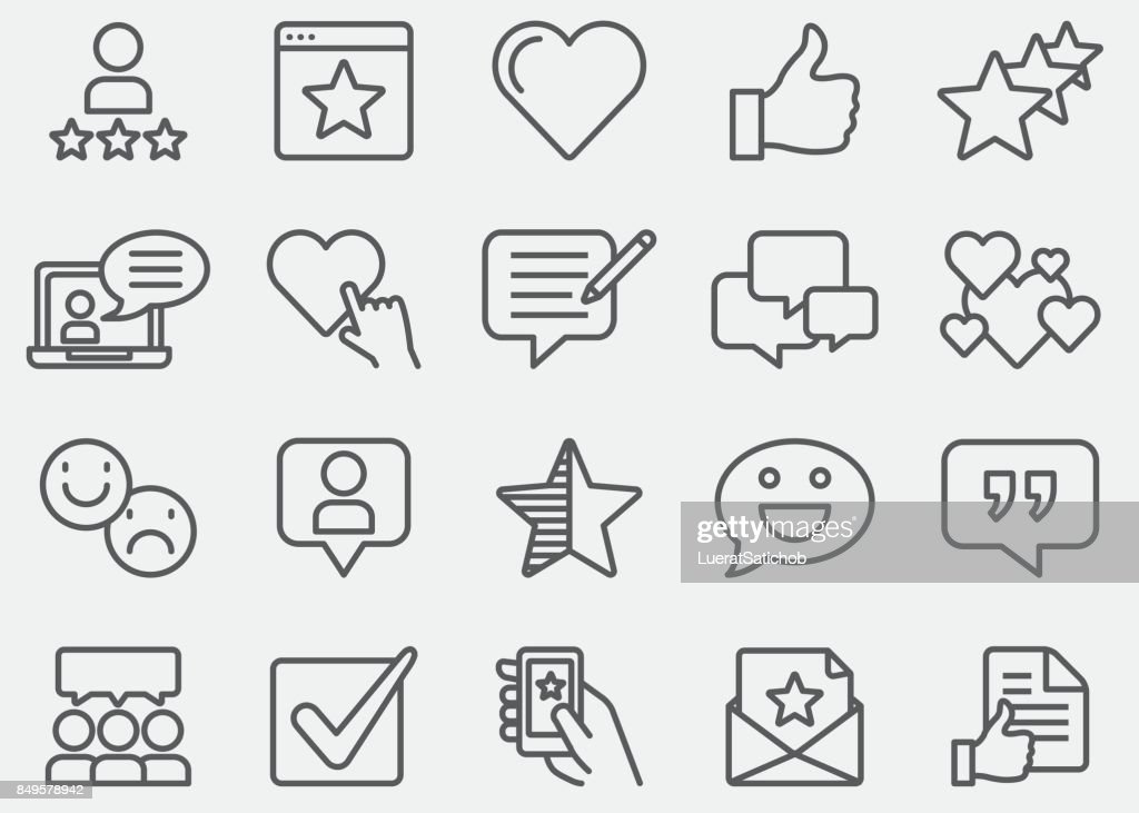 Testimonials And Customer Service Line Icons : Stock Illustration