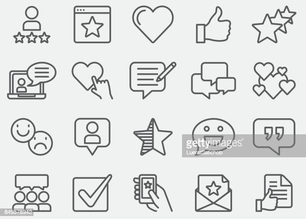 testimonials and customer service line icons - emotion stock illustrations