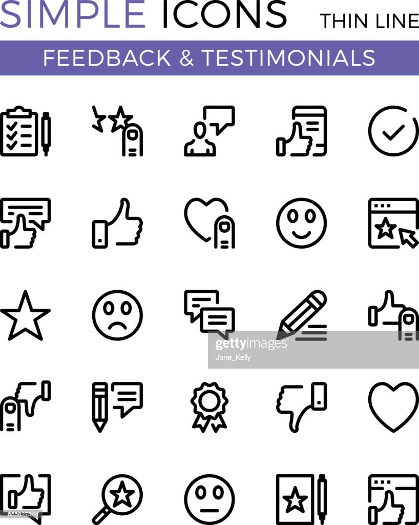 Testimonials, feedback, social network vector thin line icons set. 32x32 px. Flat line graphic design concept for websites, web design, etc. Pixel perfect vector outline icons set