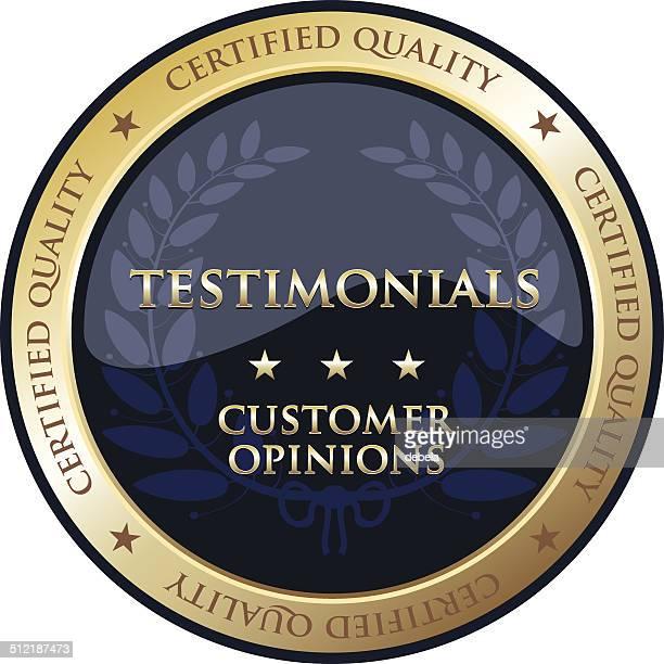 testimonials gold emblem - testimonial stock illustrations, clip art, cartoons, & icons